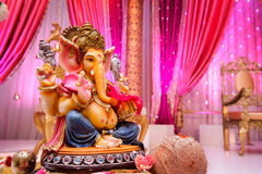 Изображение Ganesh на индийском венчании Стоковые Фотографии RF