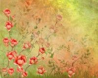 Изображение Grunge красных цветков. Стоковое фото RF