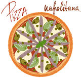 Изображение napolitana пиццы иллюстрация вектора