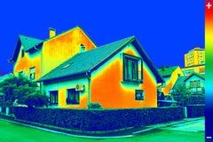 Изображение Thermovision на доме Стоковое фото RF