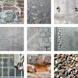 9 изображений камней и выдержанных стен Стоковая Фотография RF