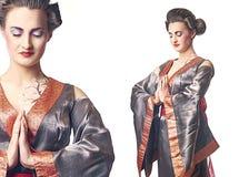 2 изображения гейши вводят женщину в моду с руками совместно Стоковое Изображение RF