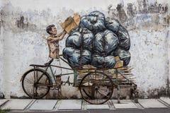 Изображения Джорджтауна Малайзии на стене penang Стоковое Изображение RF