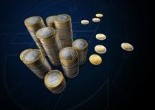 Изображения евро чеканят вверх по таблице Стоковые Изображения RF