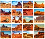 Изображения коллажа долины памятника, Аризоны, США Стоковые Изображения RF
