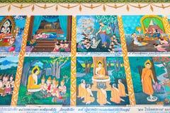 Изображения на стене описывают в реальном маштабе времени Будды Стоковое Изображение RF