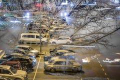 2 изображения перекрытого на двойной экспозиции одина другого Супермаркет автостоянки и большое дерево Стоковые Фотографии RF