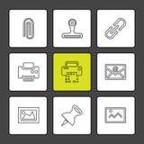 изображения, принтер, сообщения, штырь, значки eps установили вектор иллюстрация штока