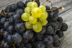 Изображения черных виноградин на деревянных изображениях в плите, больших черных виноградинах пола, черных и зеленых виноградин Стоковая Фотография