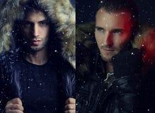 2 изображения 2 людей нося проложенную куртку с клобуком меха Стоковые Фото