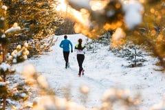 Изобразите от задней части идущих спорт женщины и человека в парке зимы Стоковое Изображение