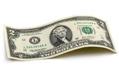 Изогнутая банкнота 2 доллара Стоковые Изображения RF