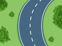 Изогнутая дорога с кустами Стоковое Изображение RF