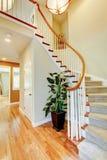 Изогнутая лестница с полом прихожей и твёрдой древесины. Стоковая Фотография RF