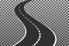Изогнутая дорога с белыми маркировками EPS10 Temp иллюстрации вектора Стоковые Изображения