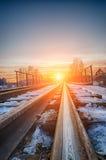 изогнутый заход солнца железной дороги Стоковые Фотографии RF