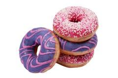 4 изолировали красочные donuts на белой предпосылке стоковое фото rf