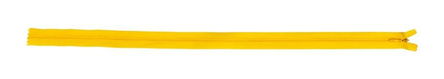 изолированная белая желтая застежка -молния Взгляд сверху Стоковая Фотография