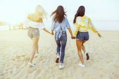 изолированная белизна вид сзади Группа в составе молодые привлекательные женщины держа руки бежать к воде Стоковые Изображения