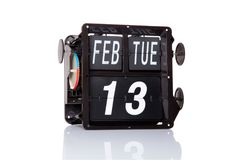 Изолированная дата механически календаря ретро Стоковая Фотография RF