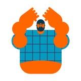 Изолированная деревенщина Сердитый бородатый человек в рубашке агрессивныйая ванта иллюстрация штока