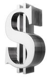 изолированная долларом разнослоистая белизна знака Стоковые Фото