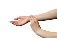 Изолированная женская рука для того чтобы измерить ИМП ульс Стоковые Фотографии RF
