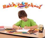 изолированная задней частью тема школы малыша к белизне Стоковые Фотографии RF