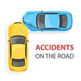 изолированная иллюстрация автомобиля аварии 3d представила белизну Взгляд сверху иллюстрация вектора