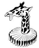 Изолированная иллюстрация руки вектора вычерченная жирафа иллюстрация штока