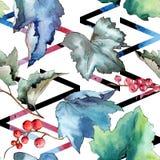 Изолированная картина листьев смородины в стиле акварели Стоковые Изображения