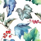 Изолированная картина листьев смородины в стиле акварели Стоковая Фотография RF