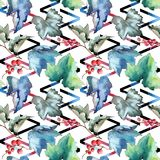 Изолированная картина листьев смородины в стиле акварели Стоковое Изображение RF