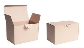 Изолированная картонная коробка Стоковая Фотография