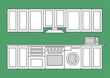Изолированная квартирой выровнянная комната кухни Стоковое Изображение RF