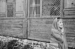 Изолированная китайская модель и деревянная предпосылка Стоковое Фото