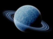 Изолированная, котор замерли планета с кольцами Стоковые Фотографии RF