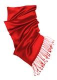 изолированная красная белизна шарфа Стоковая Фотография