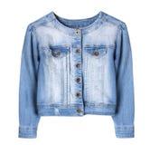 Изолированная куртка голубой джинсовой ткани женская Стоковая Фотография RF