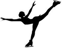 изолированная льдом женщина конькобежца силуэта Стоковое Фото