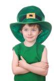 изолированная мальчиком белизна leprechaun Стоковые Фотографии RF