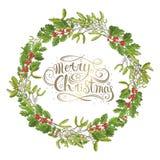 Изолированная омела Традиционный завод рождества Ягода праздника красная с зелеными листьями Украшать для национальное празднично стоковое изображение rf