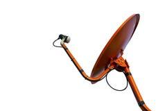 Изолированная померанцовая спутниковая антенна-тарелка Стоковая Фотография RF