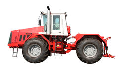 изолированная предпосылкой красная белизна трактора Стоковые Изображения RF