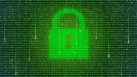 изолированная принципиальная схема 3d представляет безопасность белой Бинарный код, плавая числа и закрытый padlock на цифровой п иллюстрация штока