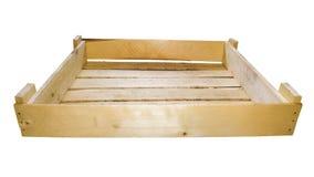 Изолированная пустая деревянной коробки случай деревянных доск для овощей Стоковые Изображения RF