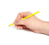 Изолированная рука человека держа желтый карандаш стоковая фотография rf