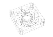 Изолированная светокопия архитектора вентилятора компьютера - бесплатная иллюстрация