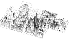 Изолированная светокопия архитектора концепции города - стоковая фотография rf