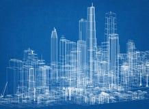 Изолированная светокопия архитектора концепции города - стоковые фото